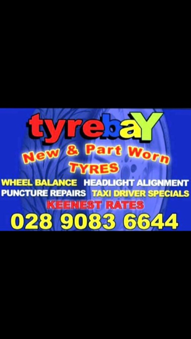 Tyre Bay glengormley New & Branded Part worn Cars Vans & 4x4 Tyres | 232 Antrim Road Glengormley, Belfast BT36 7QX | +44 28 9083 6644